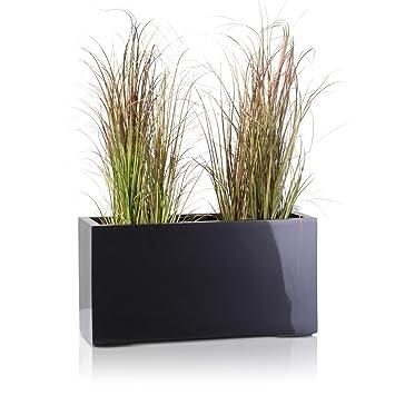 maceta jardinera de fibra de vidrio visio u color gris metlico u maceta grande