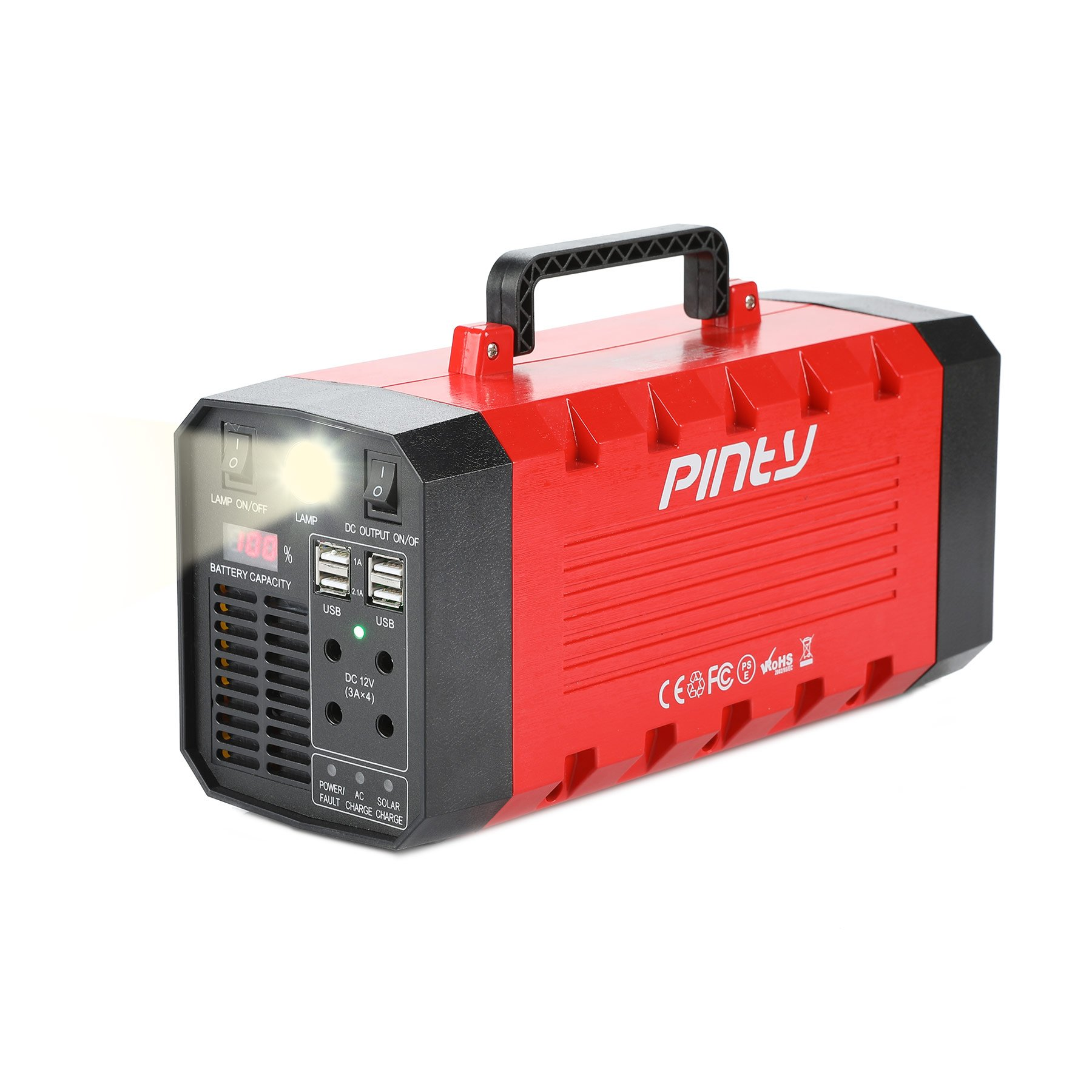 Pinty Portable Uninterrupted Power Supply 500W, UPS Battery Backup, Rechargeable Generator Power Source with AC Inverter, USB, DC 12V Outputs for Outdoors and Indoors (500W/288Wh/12V 26Ah)