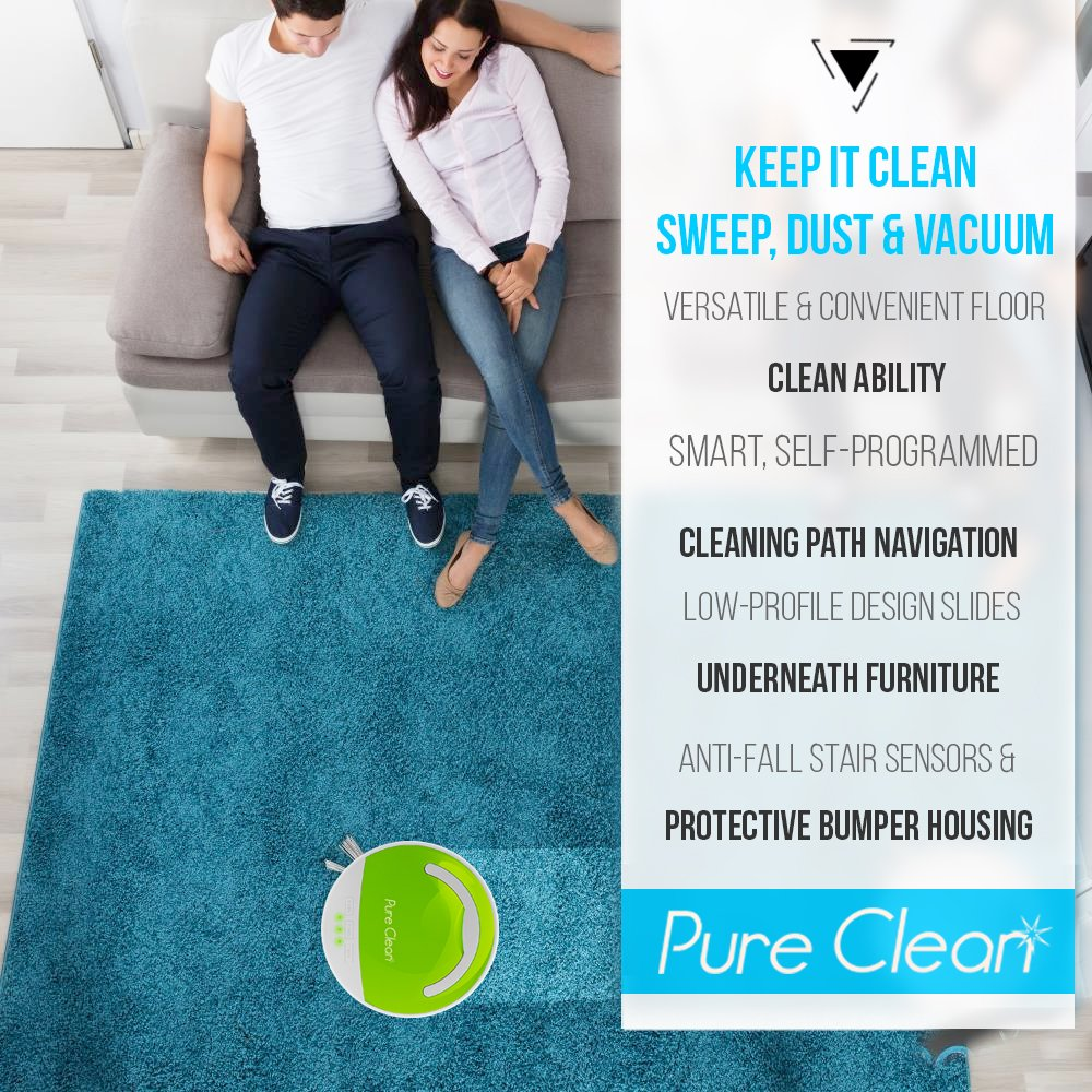 0.3L Dust Bin Capacity Selectable Cleaning Modes Smart Robot Vacuum Sweeper Cleaner 90 Min Runtime Automatic Multisurface Bagless Floor Cleaner w// Built-in Rechargeable Battery Pyle Pure Clean