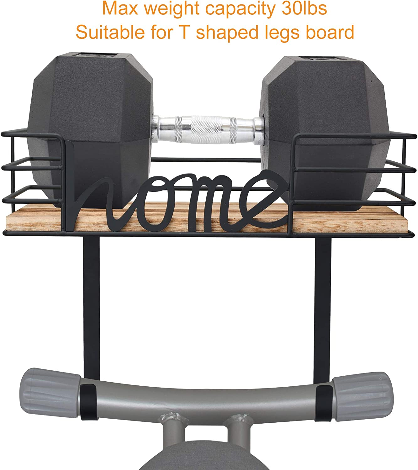 Laundry Room Iron and Ironing Board Holder Metal Wall Mount with Large Storage Wooden Base Basket and Removable Hooks Black TJ.MOREE Ironing Board Hanger