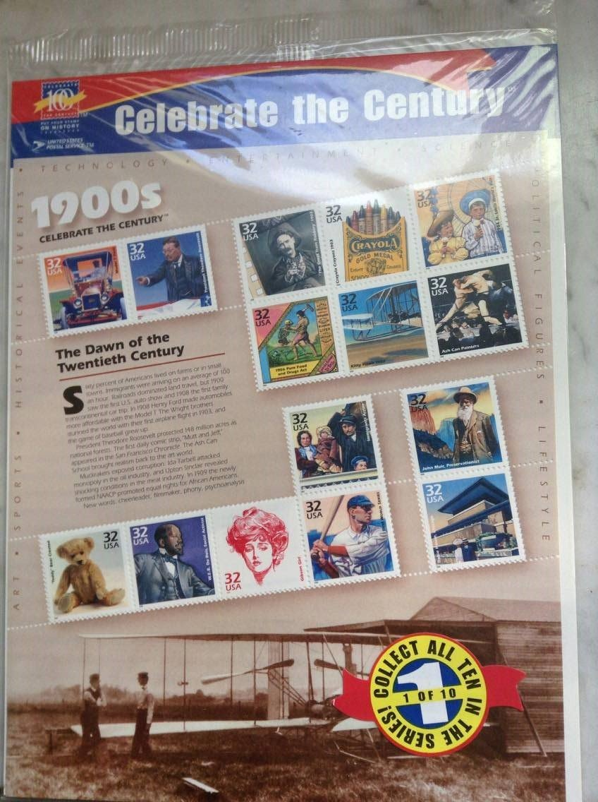 Amazon.com: Celebrate the Century 1900s - Sheet of Fifteen 32 Cent Stamps Scott 3182 by USPS: Toys & Games