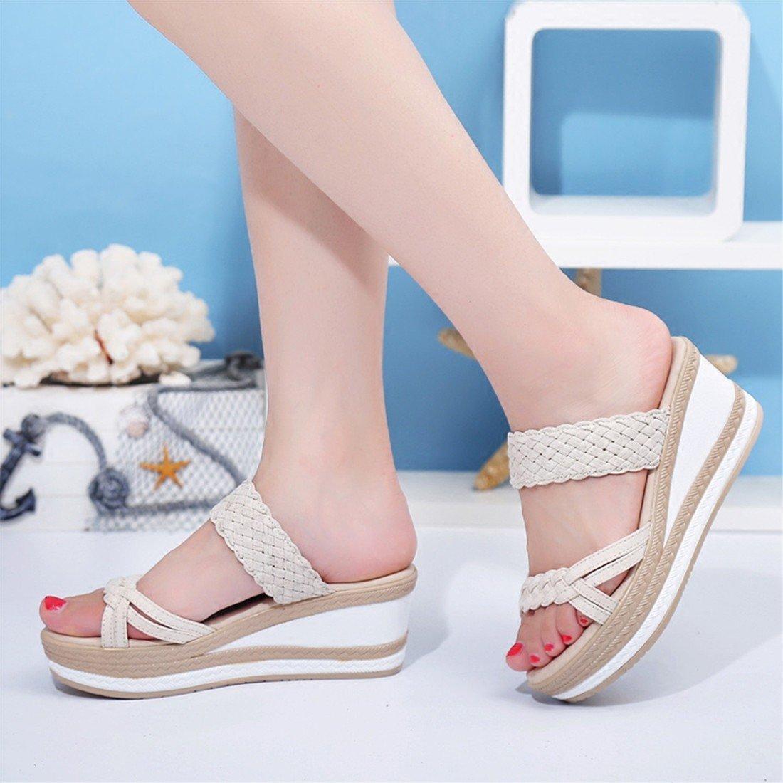 WXMDDN Sommer Pantoffeln mit Kühlen Dickem Boden und Kühlen mit Pantoffeln Beige 1aa3a1