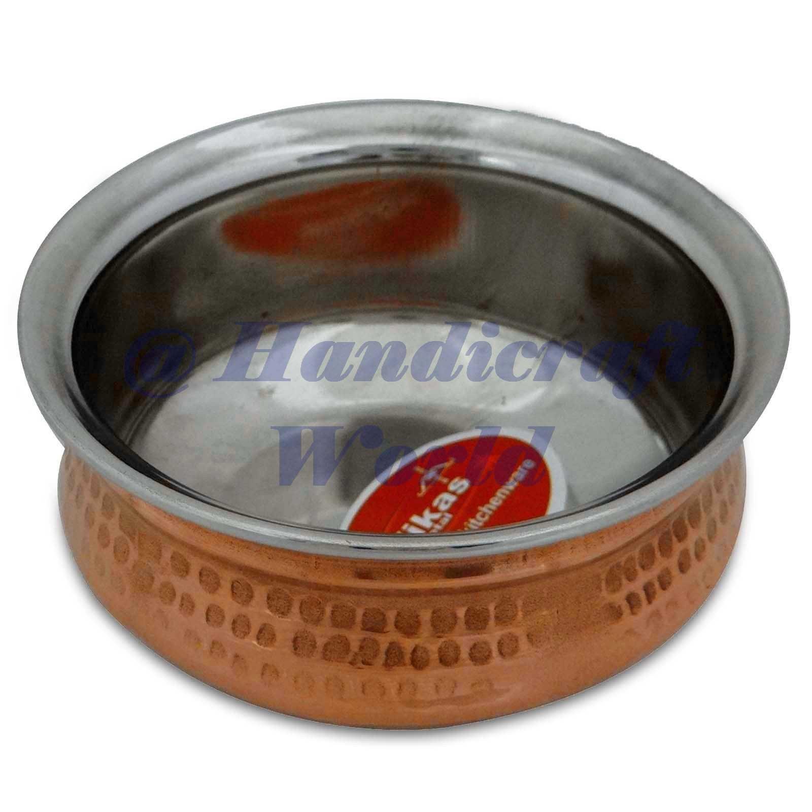 Copper Steel Handi Serving Bowl Tableware India Kitchen Utensil Dia 5.8'' Inches