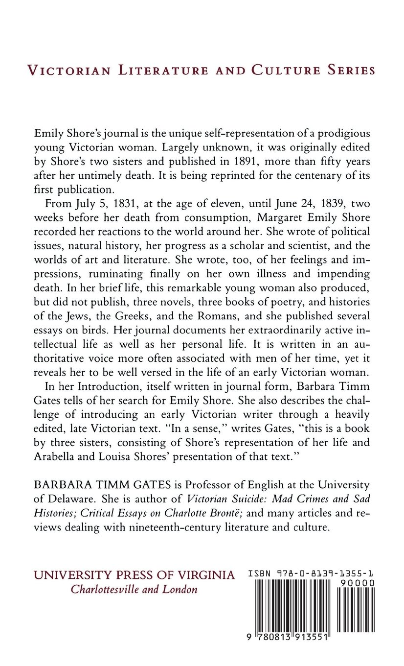 com journal of emily shore victorian literature and com journal of emily shore victorian literature and culture series 9780813913551 barbara timm gates books