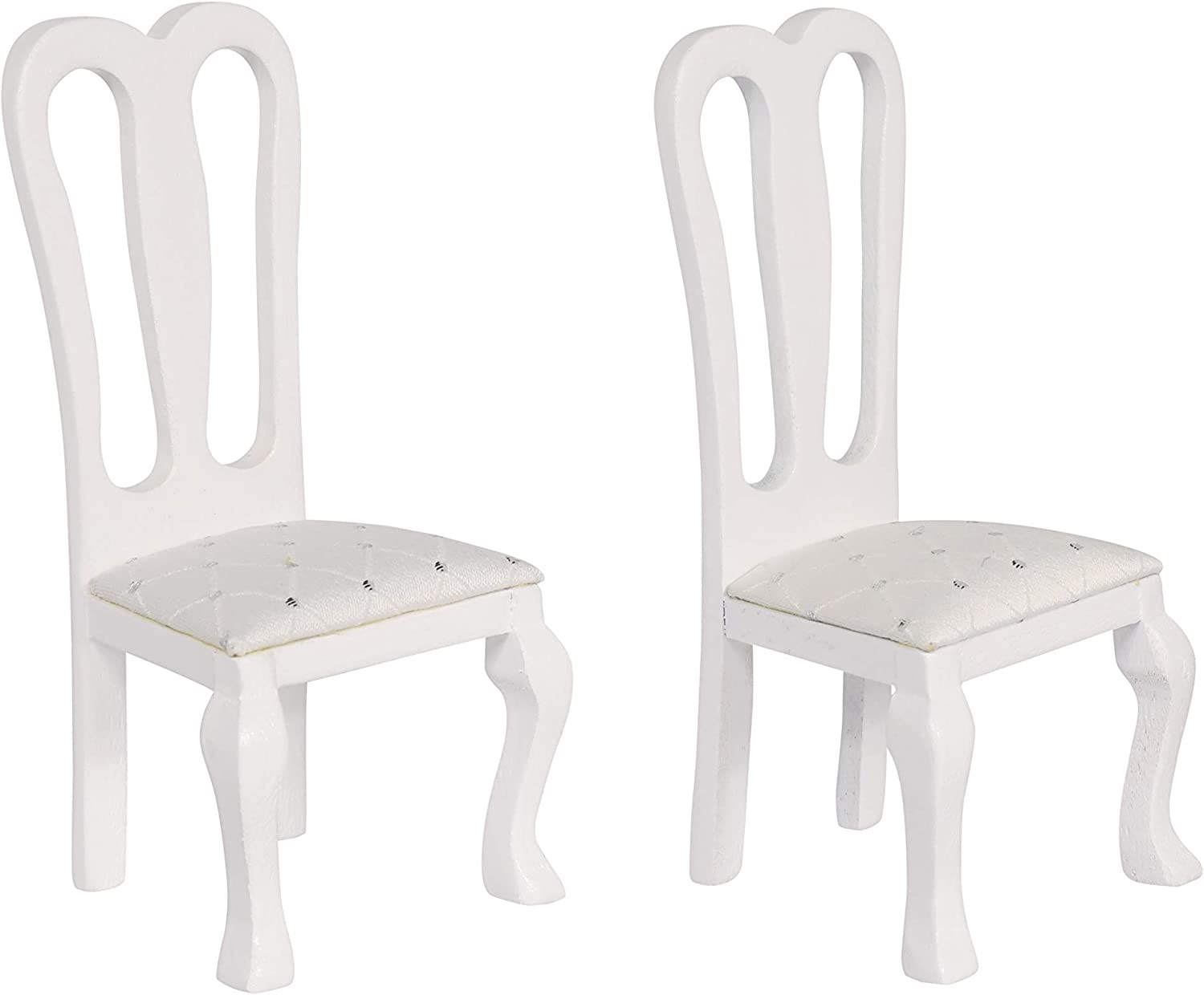 Inusitus Set of 2 Wooden Dollhouse Dining Chairs - Dolls House Furniture - 1/12 Scale (White)