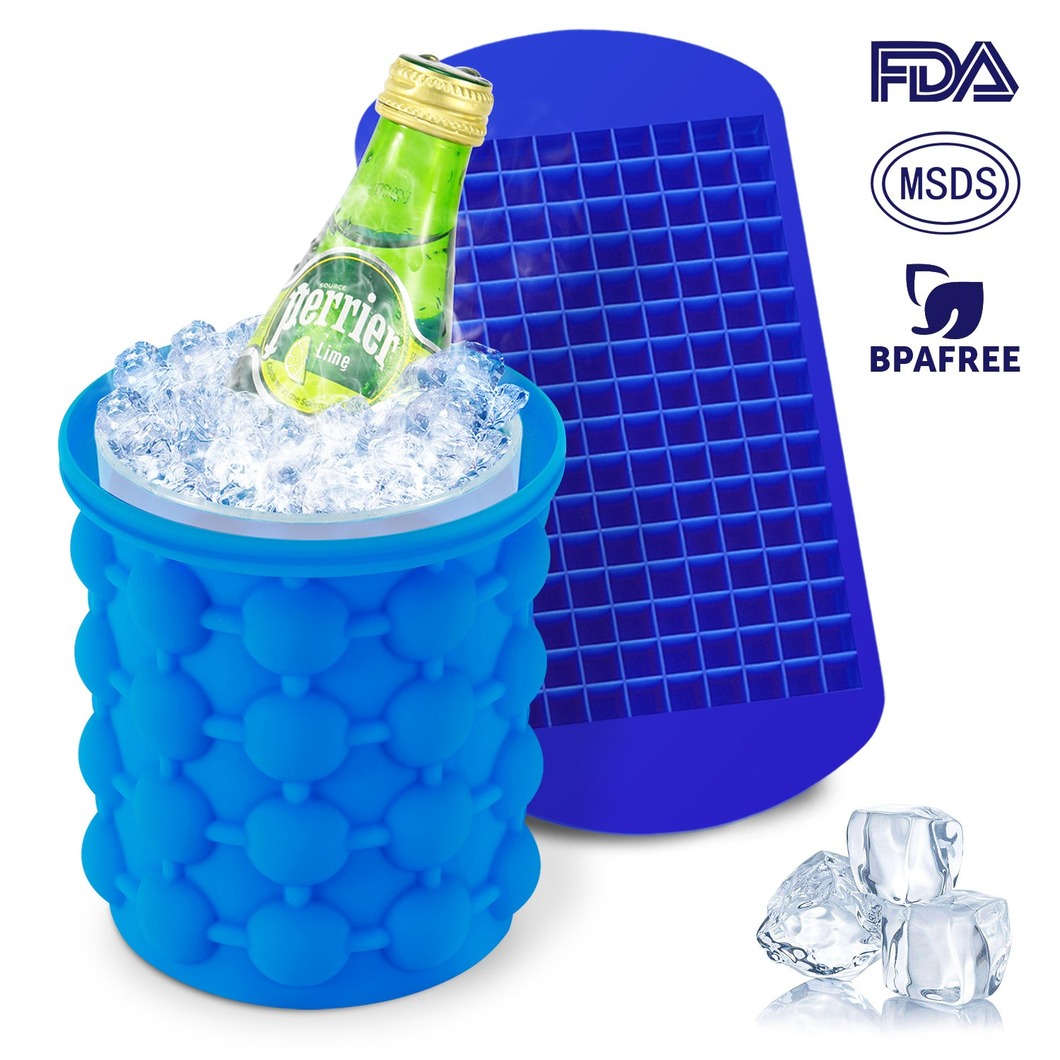 Ice Cube Maker Genie, Magicfly (5X 5.5 Inch) Silicone Ice Cube Genie Bucket with Ice Cube Trays for Chilling Whiskey, Cocktail, Beverages, Non-Toxic, Blue