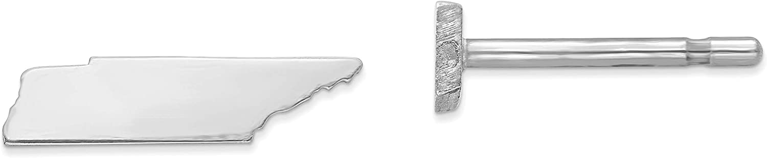 Sterling Silver Rhodium-plated TN Small State Earring Travel