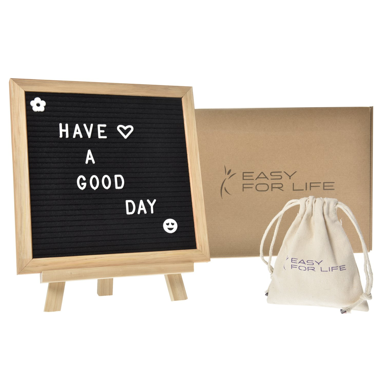 Changeable Felt Letter Board-Top Quality Oak 10x10 Black | Changeable Letter Board | 340 White Letters Including Emoji, Punctuation and Symbols | White Cotton Bag Included to Store Extra Letters