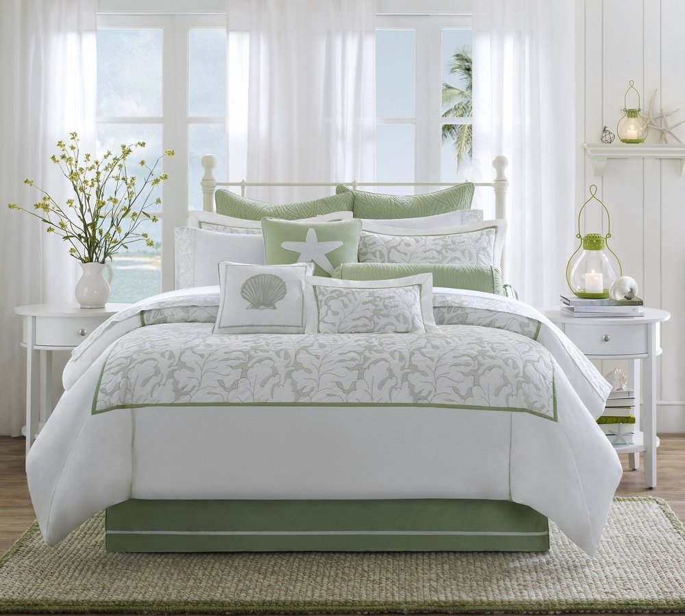Amazon com harbor house brisbane queen size bed comforter set green white embroidered leaf 4 pieces bedding sets 100 cotton bedroom comforters