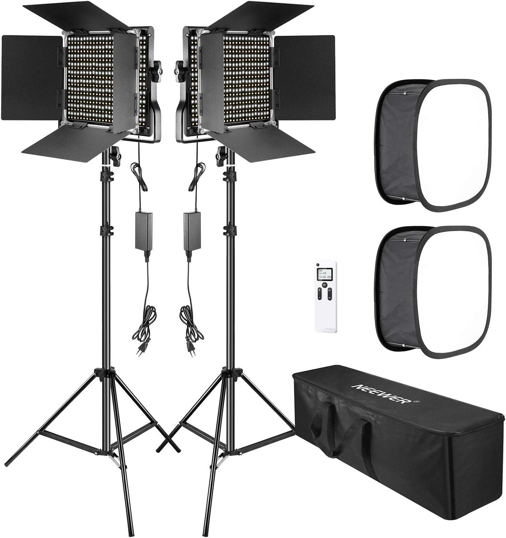 Neewer 2 Paquetes 2,4G 660 LED Avanzada Luz Video con Softbox Kit LED Panel Bicolor Regulable con 2,4G Control Inalámbrico Pantalla LCD Softbox Difusor y Soporte para Producto de Retrato Fotografico