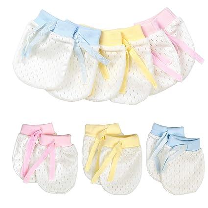 Guante antiarañado para bebes,6 pares,mitones nacidos recién,ajustable y respirable,3 colores, algodón elástico,abrigar las manos,protección de ...