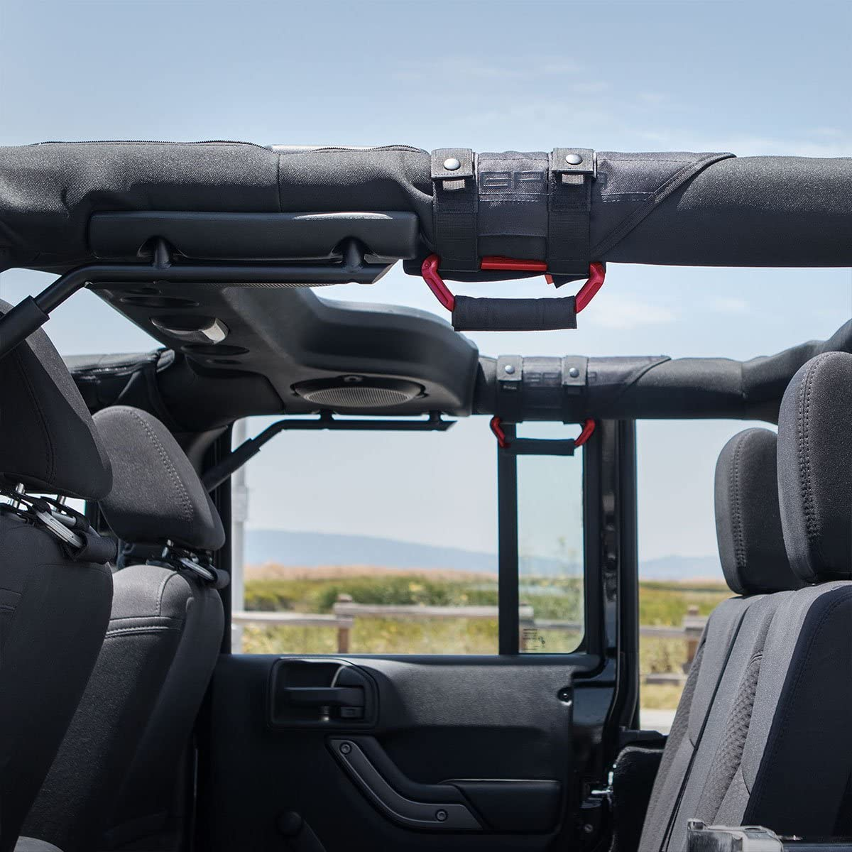 GPCA Products GP-Grip LITE for Jeep JK JKU JL Sports//Sahara//Freedom//Rubicon X Unlimited X 2DR// 4DR 2007-2019 with 3 Padded roll bar Jet Black - Single GPCA Wrangler Metal Grab Handle