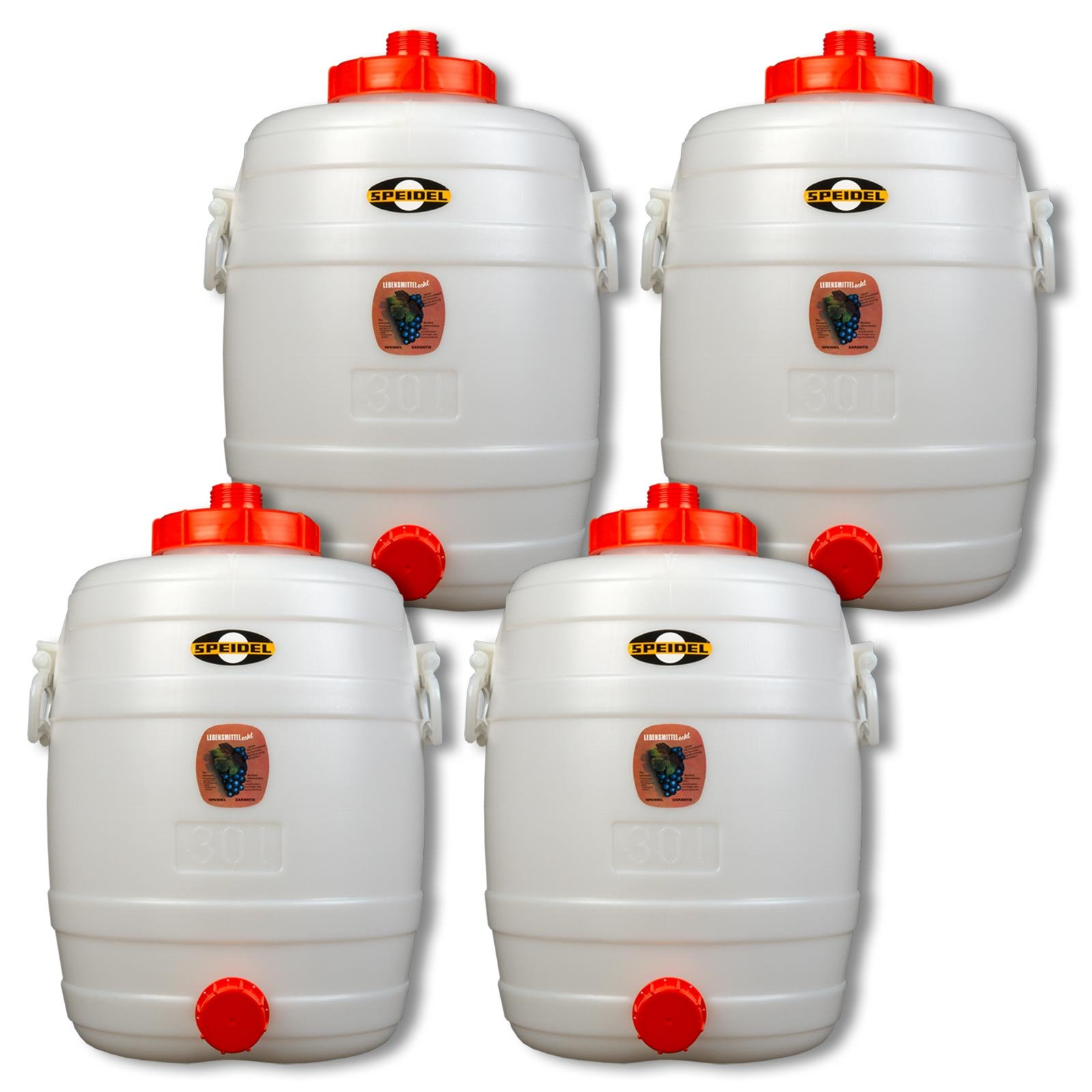 Lot of 4 Fermenter barrels SPEIDEL - 30 L round - 1 cap included (4x22132)