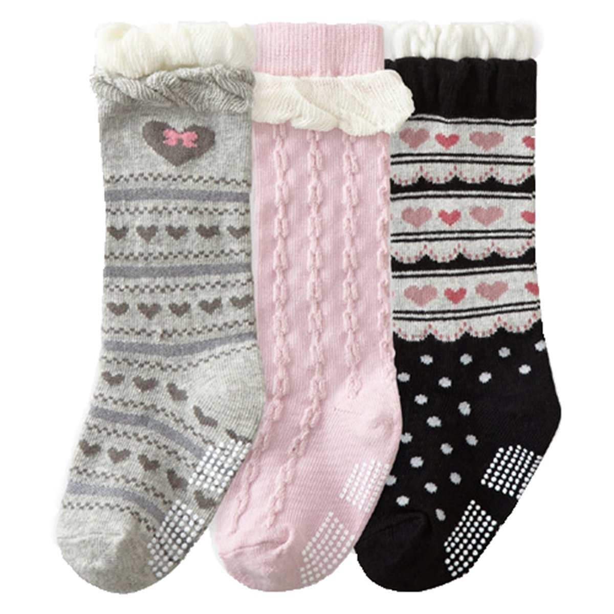 Baby Girls Non Skid Cotton Colorful Heart Toddler Socks Knee High Socks 3-Pairs