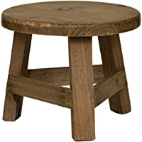 Rustix Small Wooden Stool Rustic Decorative Mini Stool Ideal Accent Stool for Small trinkets, Plants and Decor