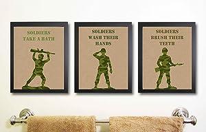 Army Military Themed Party Supply Bedroom Bathroom Decor Art Wall Prints Signs (Bathroom Decor)