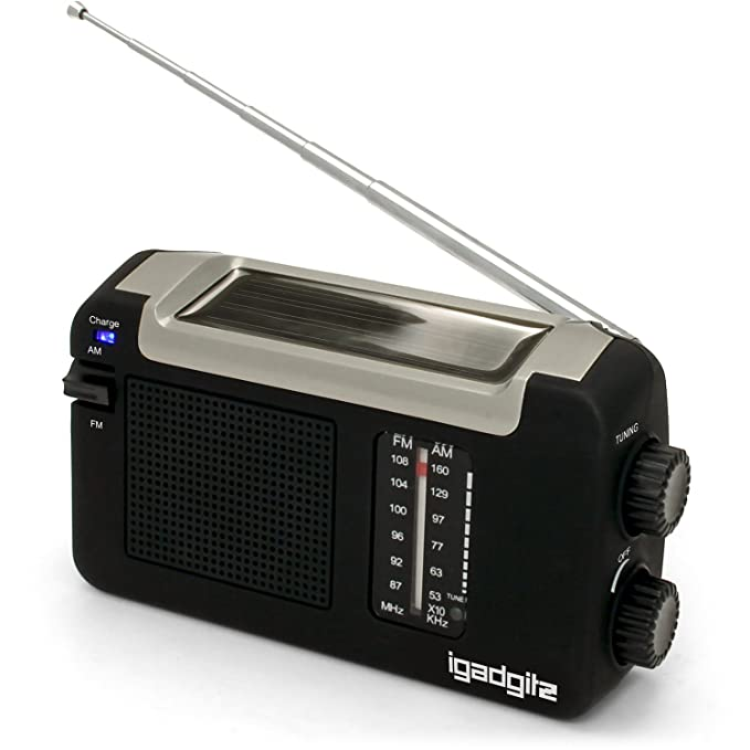 igadgitz Xtra U4457 Radio Portátil AM/FM Dinamo Manivela, Solar y USB Recargable - Negro