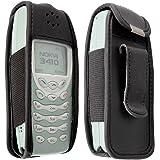 caseroxx Handy-Tasche Ledertasche mit Gürtelclip für Nokia 3410 aus Echtleder, Handyhülle für Gürtel (mit Sichtfenster aus schmutzabweisender Klarsichtfolie in schwarz)