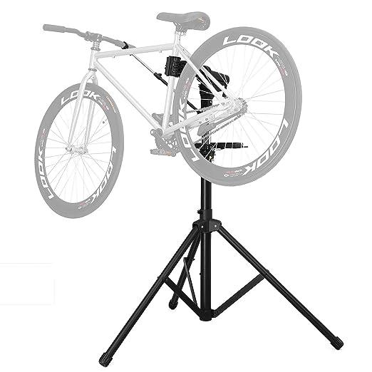SONGMICS Soporte para Reparación de Bici Altura Ajustable Barra Horizontal Barra Horizontal de Aluminio Bandeja de Herramienta Grande Portátil Compacto ...