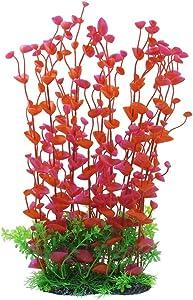 CNZ Aquarium Decor Fish Tank Decoration Ornament Artificial Plastic Plant Green (Red, 16-inch)