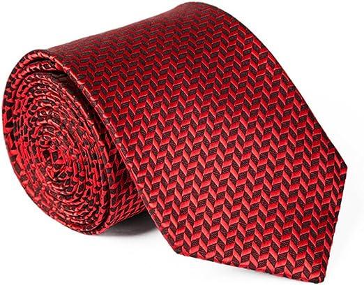 Z-P Mens Upscale Necktie Polyester Silk Red Lattice Pocket Square,Cufflinks Tie Set