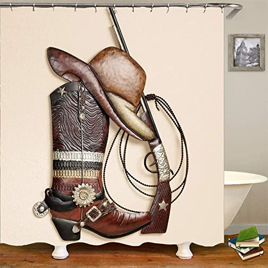 """Cowboy Decor Hat And Pistol On Wooden Table Bathroom Fabric Shower Curtain 71/"""""""