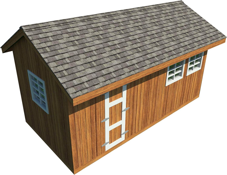 Amazon Com Garden Storage Shed Plans Diy Gable Roof Design Backyard Utility House 10 X 20 Garden Outdoor