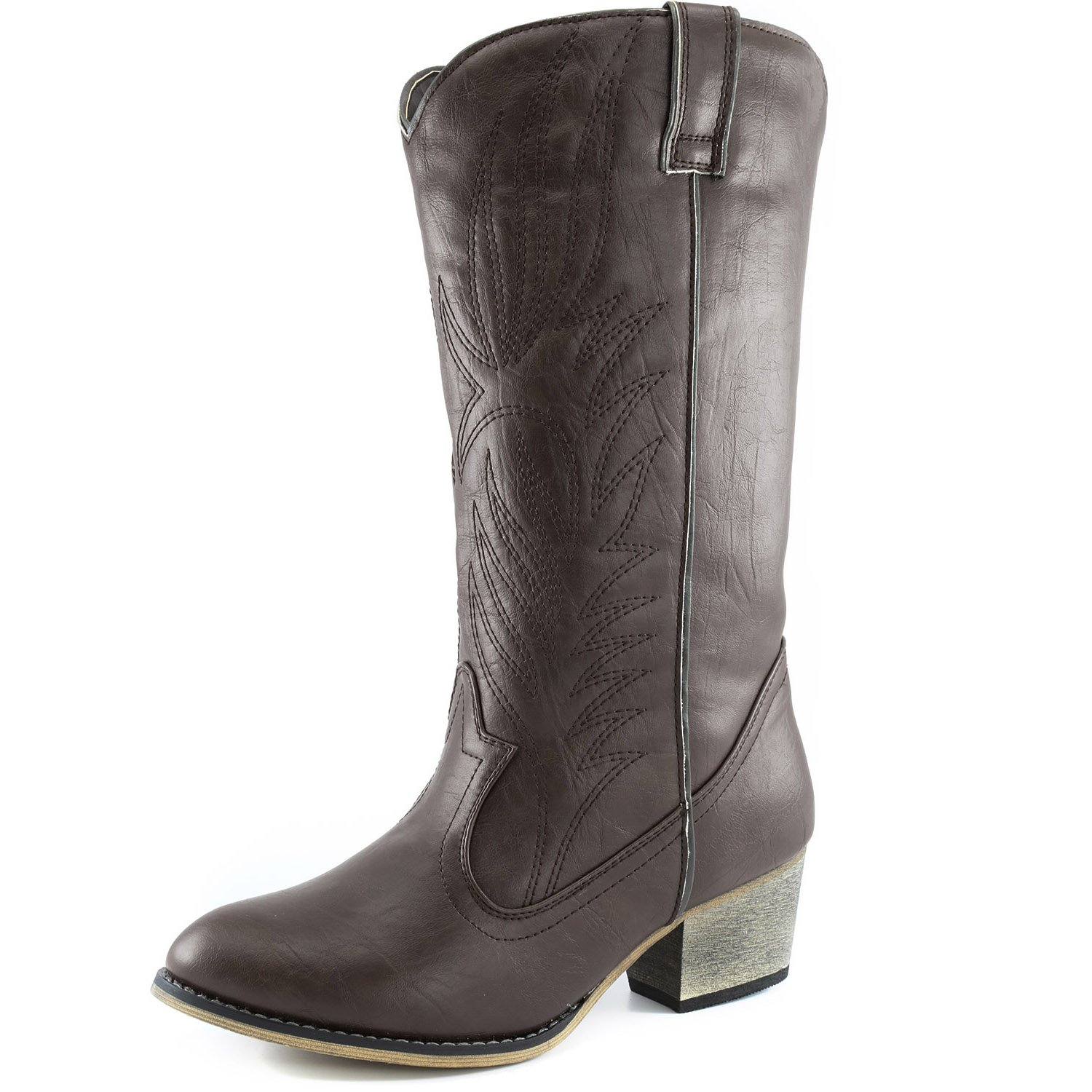DailyShoes Womens Embroidered Legend Pointed Toe Pull up Zipper Mid Calf Western Cowboy Boots Knee High Boot