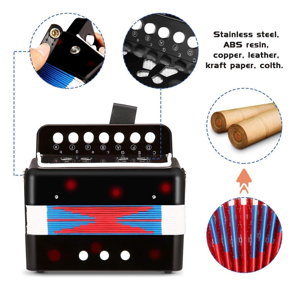 Children Musical Toy Instrument - 7 Keys 2 Bass Kid's Toy Accordion Rhythm Band Toy for Beginner Children Birthday's Gift by DigitalLife (Image #5)