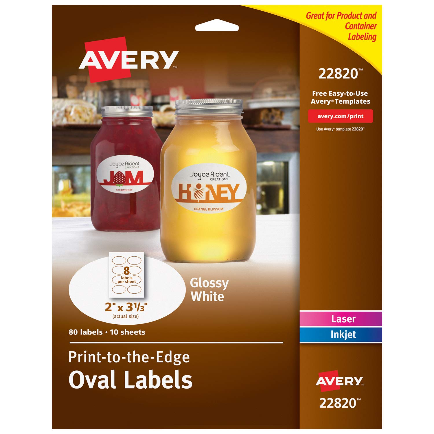 "Avery Oval Labels for Laser & Inkjet Printers, 2"" x 3-1/3"", 80 Glossy White Labels (22820)"