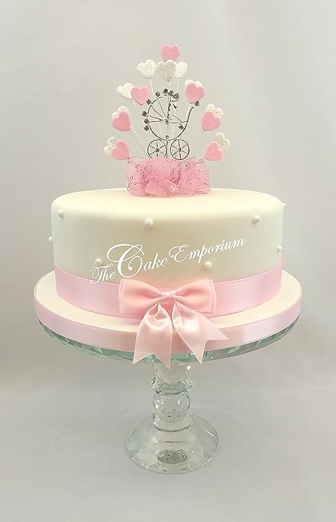 Swell Baby Shower Pink White Heart Burst Diamante Pram Cake Topper Personalised Birthday Cards Akebfashionlily Jamesorg