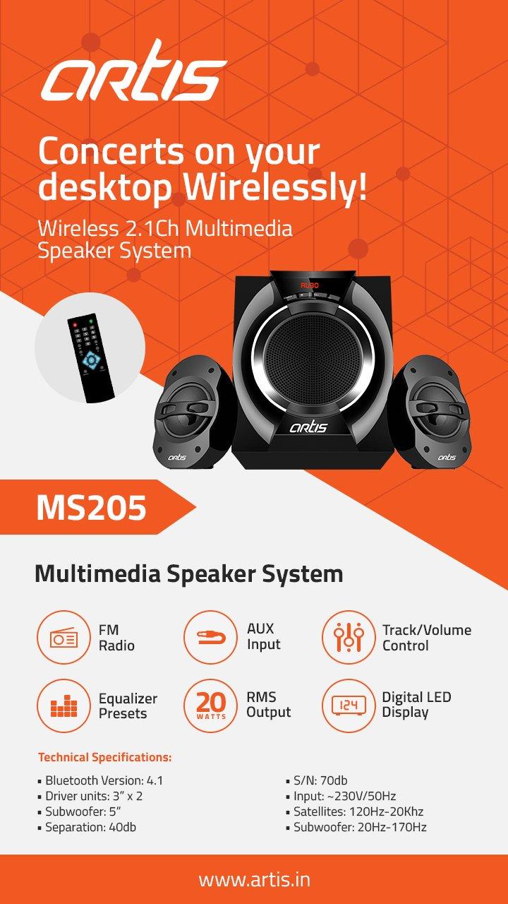 Artis Ms205 2 1 Ch Wireless Multimedia Speaker System With Fm Sd Aux