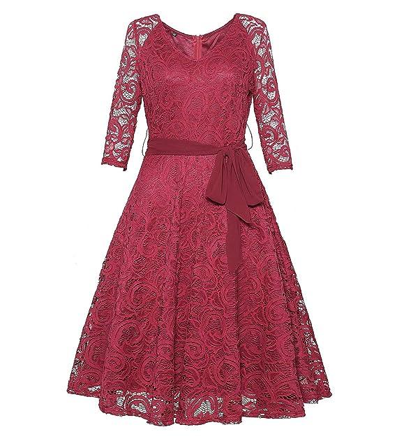 JackenLOVE Primavera Otoño Mujeres Elegantes Midi Vestido de Encaje Retro A-Line Vestidos de Ceremonia