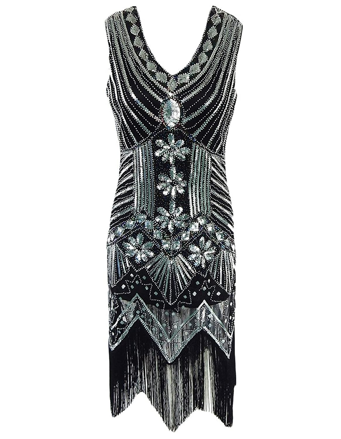 OOFIT Womens Flapper Dress, Vintage Art Deco Sequin Inspired Gatsby Dresses