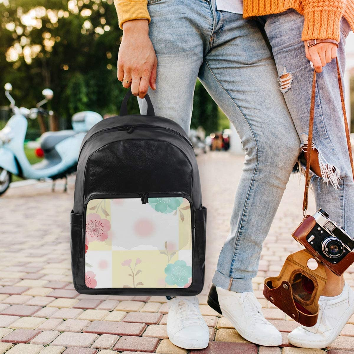 Holds 12.5-inch Laptop Student Backpacks College School Book Bag Travel Hiking Camping Daypack for boy for Girl Cherry Blossom Square 12.5x9x17.5