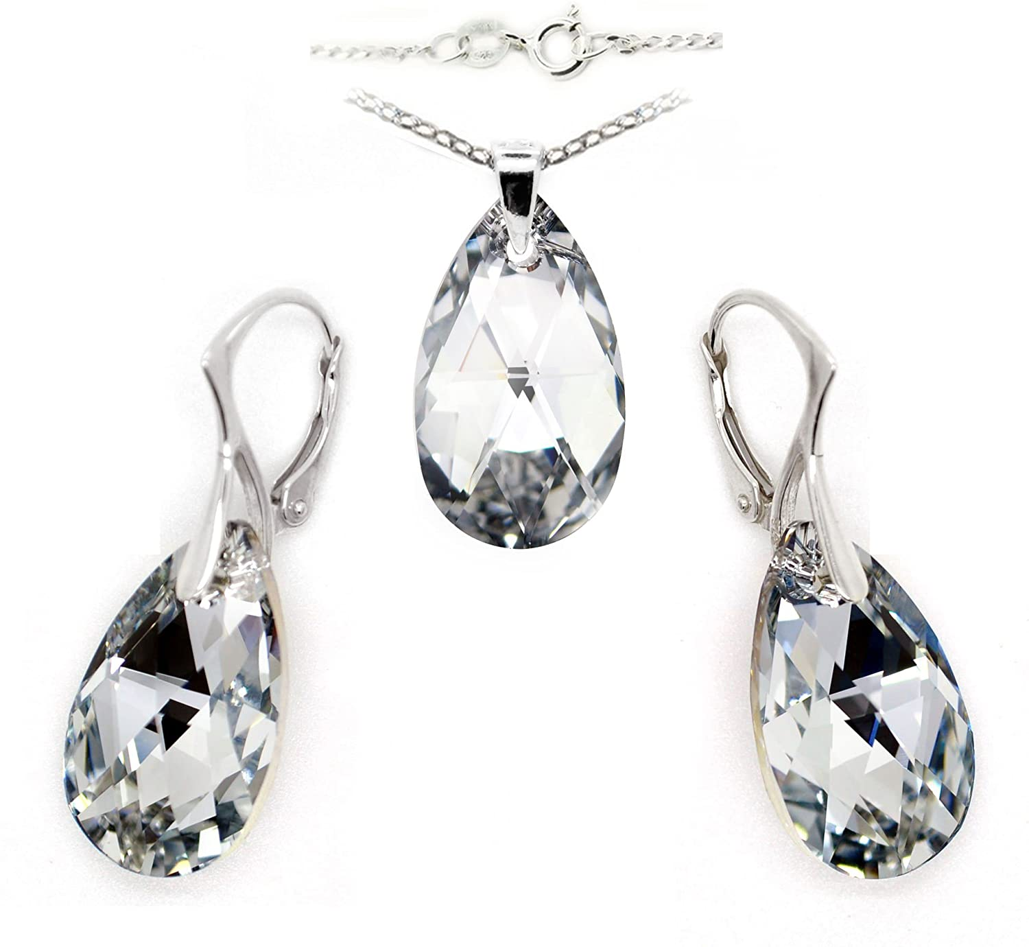 April Clear Birthstone Sterling Silver Made with Swarovski Crystals Teardrop Necklace and Leverback Earrings Set, 18