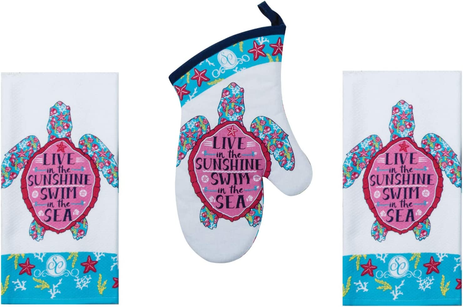 Kay Dee Designs Beach Theme Kitchen Linen Set | Part of The Southern Couture Series | Includes (1) One Sea Turtle Oven Mitt and (2) Two Sea Turtle Terry Towel | Live in The Sunshine Swim in The Sea