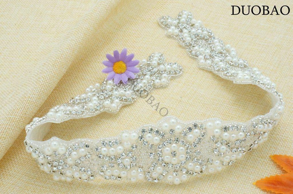 DUOBAO Rhinestone-Sash-Belt Beaded Rhinestone Applique Rose Gold Bridal Shower Sash Crystal Rhinestone Applique Trim Womens Wedding Belt by DUOBAO