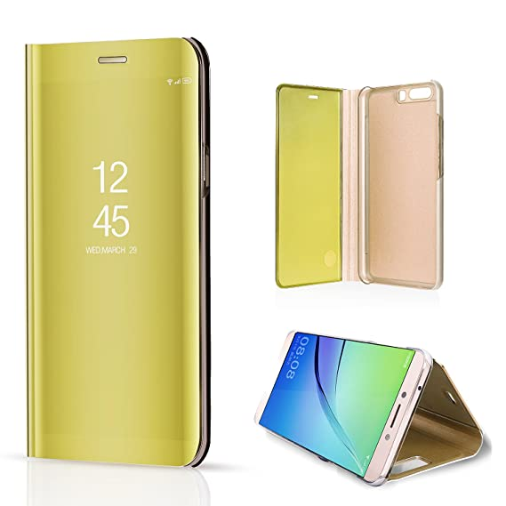 f0dbc4252a3 Cover Huawei P10 Flip Book, BZCTAH Premium Electroplate Hard PC Plastic  Inner Transparent View Standing