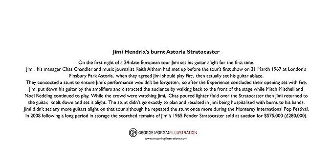 Tarjeta de felicitación Astoria Stratocaster de Jimi Hendrix, DL tamaño: Amazon.es: Hogar