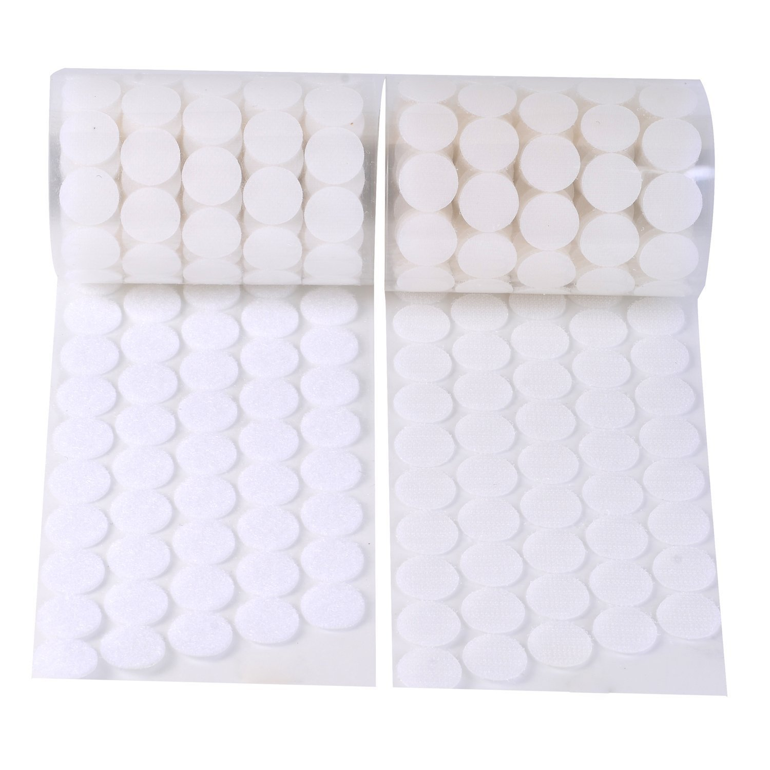 Vkey 1000pcs 500 Pairs 2cm Diameter Adhesive Sticky Back Coins Hook Loop Self Adhesive Dots Tapes Magic Sticky White by Vkey