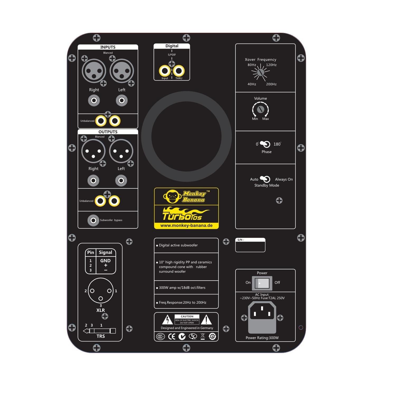 Monkey Banana Turbo 10s Subwoofer activo estudio 300W negro: Amazon.es: Electrónica
