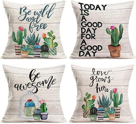 Pillowcase Water Plant Cactus Cotton Pillow Case Cushion Cover Pillow Covers US