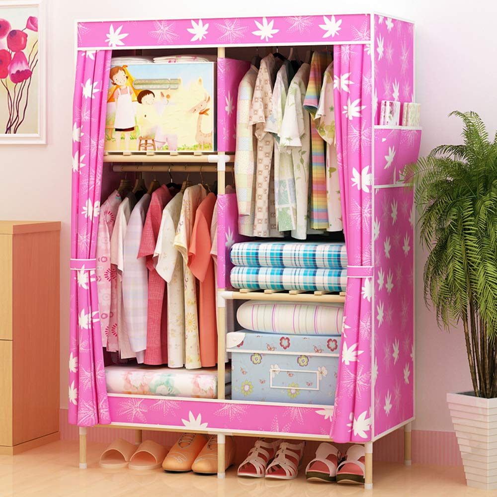 Kleiderschrank, Kleiderschrank, Kleiderschrank, Oxford-Stoff kräftiges Holz große Kapazität langlebig,9 d8fdae