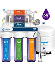 Express Water Alkaline Reverse Osmosis Filtration System – 10 Stage RO Mineralizing Water Filter – Mineral, pH + Antioxidant – Under Sink Water Filter with Remineralization – 100 GDP with Clear Housing