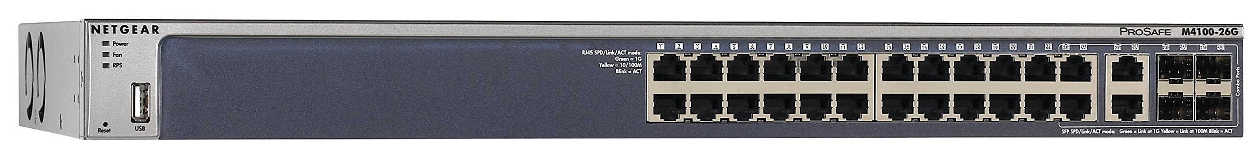 NETGEAR 26-Port Gigabit Ethernet Fully Managed Switch (GSM7224) - with 4 x 1G SFP, Desktop/Rackmount, and ProSAFE Limited Lifetime Protection, M4100 Series by NETGEAR