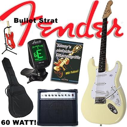 Fender Set de guitarra eléctrica con guitarra Squier Bullet Strat de color blanco, amplificador 60 vatios, bolsa, afinador ...