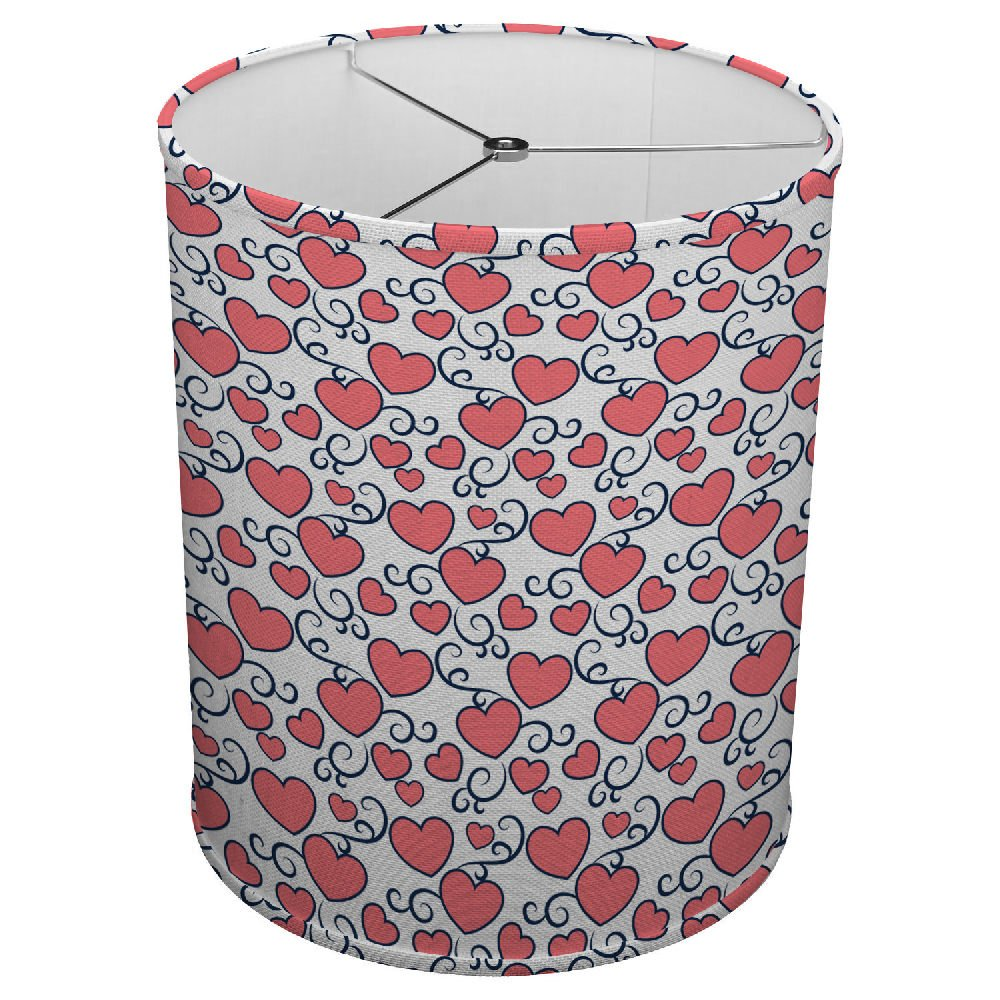 Hardback Linen Drum Cylinder Lamp Shade 8'' x 8'' x 8'' Spider Construction [ Heart Love Romance ]