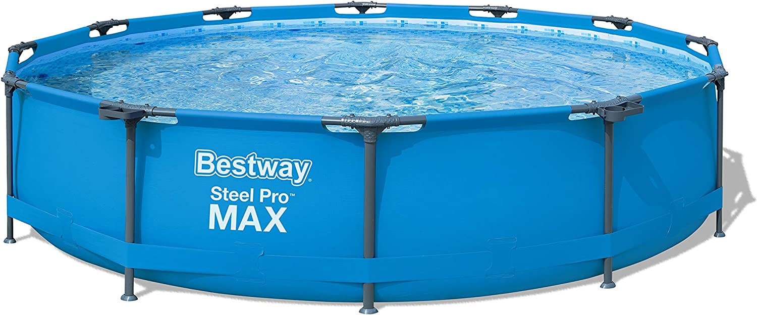 Bestway Steel Pro 12 Feet x 30 Inches Frame Above Ground Swimming Pool with Filter Pump