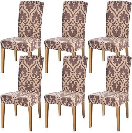Fundas sillas de comedor elásticas y modernas pack de 6,Fundas de ...